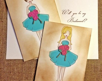 Will you be my Bridesmaid Cards - Bridesmaid Gift, Rustic Wedding, Matron Maid of Honor, Maid of Honor