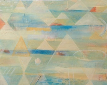 """GEOMETRIC painting, abstract landscape, modern original art, white and blue acrylic on canvas, """"Breath of Light II"""""""