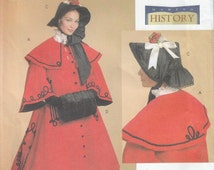 Butterick 5266 Victorian Cloak With Capelet, Skirt, Civil War Bonnet and Muff, Dickens Caroler, 19th Century, Sizes  8 to 14 and  16 to 22