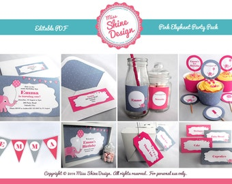 Pink Elephant Party Pack - Editable Text PDF - INSTANT DOWNLOAD