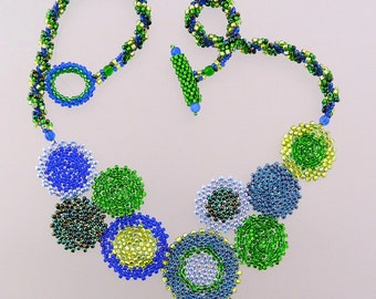 Blue and Green Circles Necklace