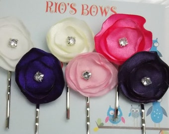 Purple and Pink Flower Bobby Pin Hair Accessories Wedding