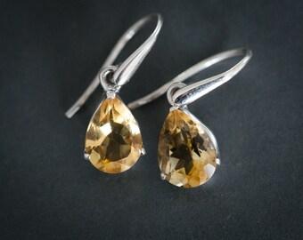Citrine Dangle Earrings - Citrine and Sterling Silver dangle earrings - Citrine Earrings - Sterling Silver Citrine Earrings - Citrine