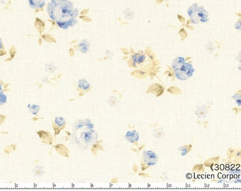 Japanese Fabric ~ Lecien Fabric ~ Small Blue Roses Fabric ~ Durham Quilt Collection ~ Cotton Fabric ~ Quilt Fabric ~ Apparel Fabric