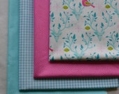 Christmas Fabric/Fat Quarter Bundle/4 Fat Quarters/Cotton Fabric/Quilting Fabric/Reindeer and Dove Fabric/Aqua Gingham/Pink Dot
