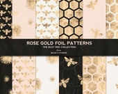 Busy Bee Rose Gold Foil Digital Papers on Rich Black, Shell Pink and Pale Sand Backgrounds