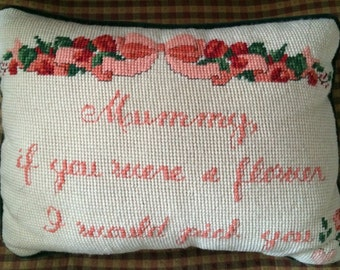 "Needlepoint Decorative Pillow ""Mummy"""