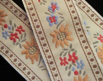 "450.2  Edelweiss trim, Edelweiss ribbon, German ribbon, Oktoberfest, jacquard trim ""Edelweiss"" mocha - 1-3/8"" (35mm)"