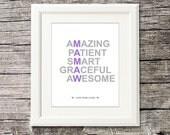 Mamaw gift, Personalized GRANDMOTHER gift, grandma wall art, nursery Art Print - 8x10 - gift from grandchildren, nana, nany -UNFRAMED