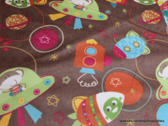 Flannel fabric monkey space ship 1 yard 100 cotton for Space flannel fabric