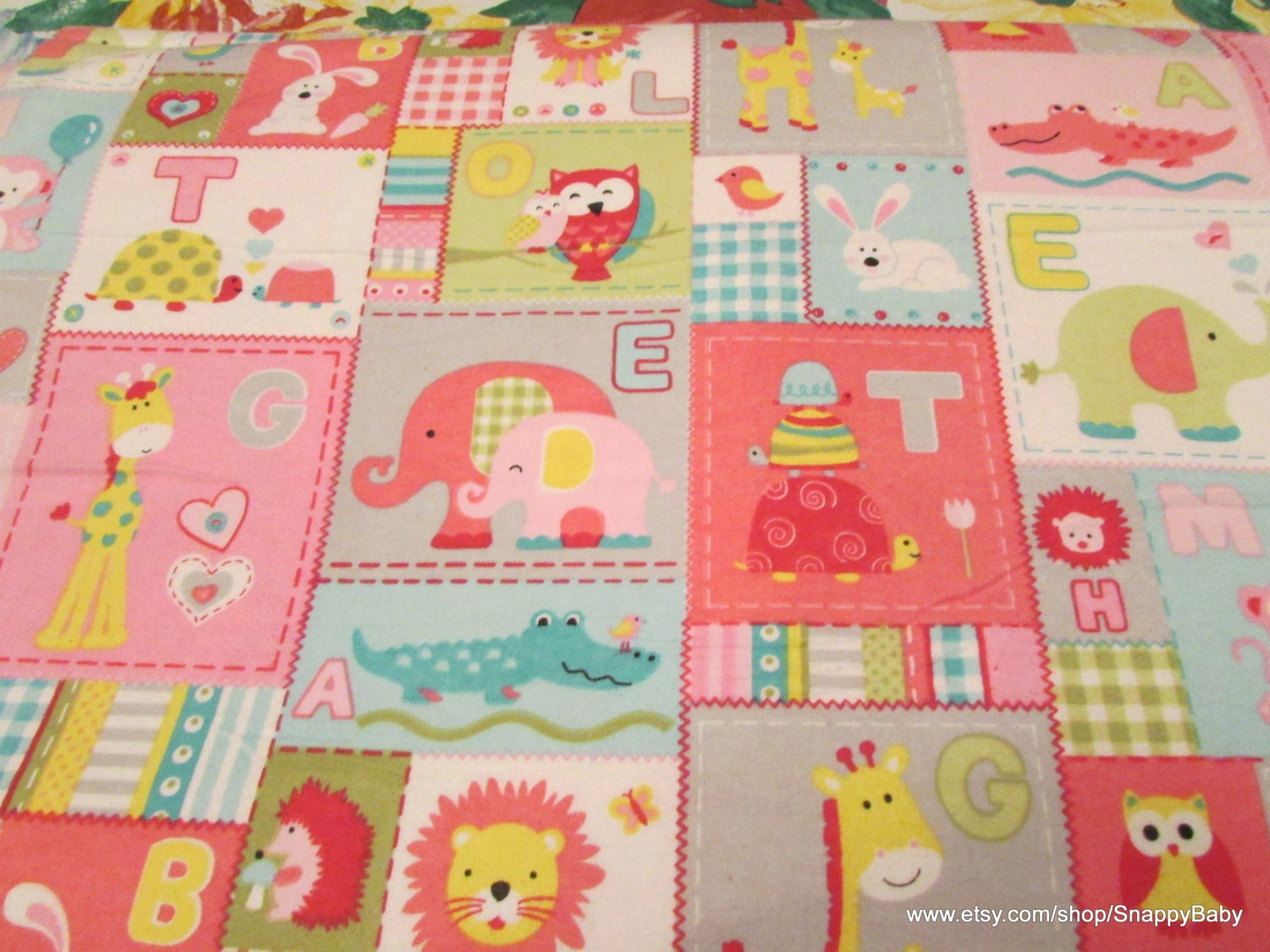 Flannel fabric baby animal patch pink by the yard 100 for Baby fabric by the yard