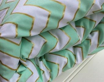 Cot quilt / doona / duvet cover in Aqua and Gold Chevron