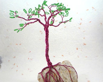 Wire Tree of Life Sculpture on Rock Base with Green Seed Beads Leaves and Purple Wire by PassionInAction
