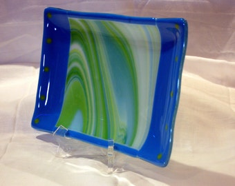 Fused glass spring swirl serving dish