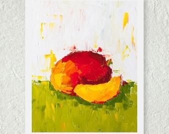 Mango Artwork, Still Life Print, Fruit Art, Kitchen Decor, Home Wall Art, Red, Yellow, Green, Colorful Art, Tropical Fruit, Fine Art Print