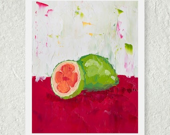 Tropical Painting, Guava Fruit Still Life Art, Kitchen Decor, Green and Red Art, Impasto Painting, Colorful Art Print, Art on Paper