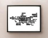 Charlotte Typography Map, North Carolina Text Art Print