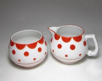 Slovakian Red Polka Dots on White Creamer Sugar Set by Erphila  E&R Erphila, Ebeling and Reuss, Philadelphia, Pennsylvania 1935
