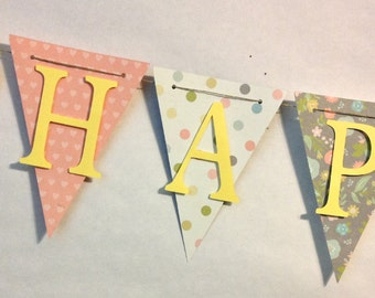 Pastel Happy Birthday Banner, Party Decorations, Birthday Party