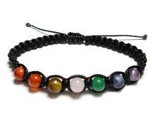 7 Chakra bracelet, seven chakras, macrame bracelet, shamballa bracelet, rainbow beads, friendship bracelet, semi-precious gemstone beads,
