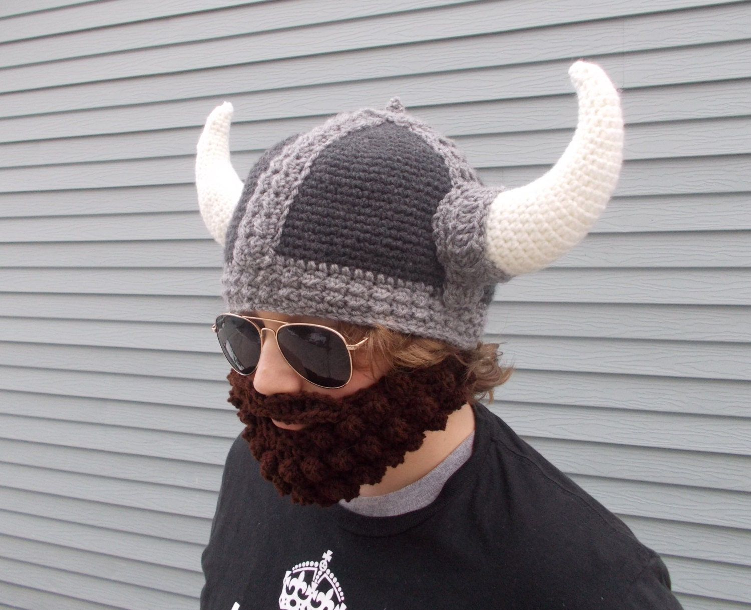 Crochet Mens Viking Hat & Removable Beard in by ForestUrchin
