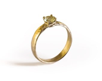 Yellow Beryl Ring, 14K Solid Gold Engagement Ring.