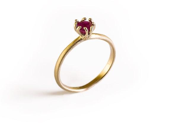 ruby ring 14k gold engagement ring gemstone ring ruby