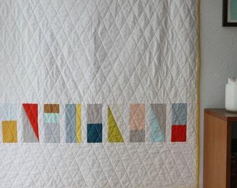 Custom modern baby quilt--minimal geometric design