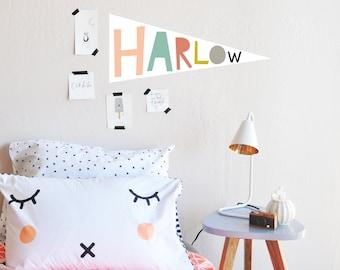 Wall Decal - Custom Multi Colored Name Flag - Wall Sticker - Room Decor - Wall Decor