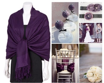 Eggplant purple pashmina scarf shawl / personalized initial shawl / bridesmaid shawl / wedding favor / spring summer wedding /