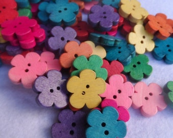 20 Wooden buttons to flower multicolor 18x19mm