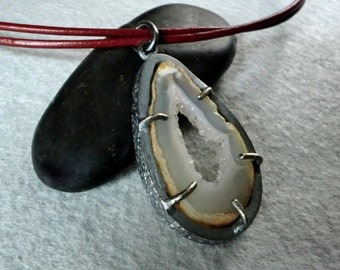 Handmade Pendant with Agate Geode in Sterling Silver, Leather Cord and Rutilated Quartz Beads