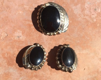 Vintage 80s Sterling Silver Black Onyx Earrings Brooch / Pendant Combo Mexico 928