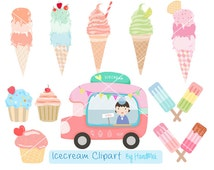 Ice cream Clipart, pastel ice cream clipart PNG file-300 dpi.