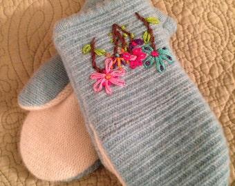 G6    Handmade fletted wool mittens