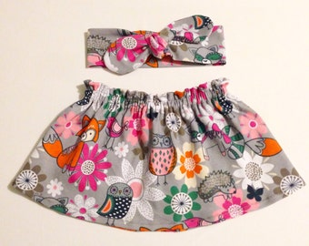 Animal Print Skirt&Headband