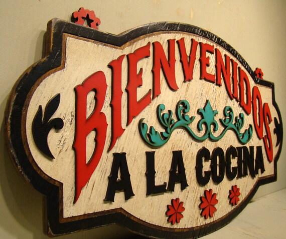 Kitchen Signs In Spanish: Bienvenidos A La Cocina Rustic Sign Vintage Sign Welcome
