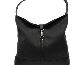 Black Hobo Bag, Slouchy Tote Bag, Vegan Handbag, Black Shoulder Bag,Minimal Bag,Vegan Leather Hobo Purse,Slouchy Shoulder Bag,Casual Handbag