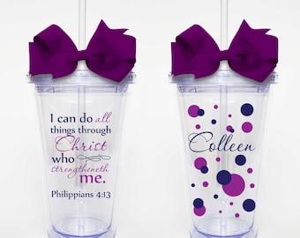 Philippians 4:13, Bible verse Scripture- Acrylic Tumbler Personalized Cup