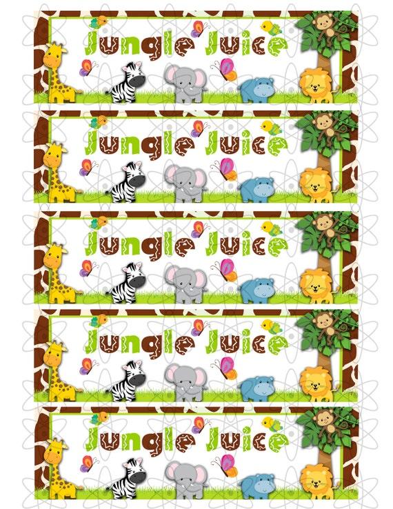 INSTANT DOWNLOAD - Jungle Baby Shower Water Bottle Labels
