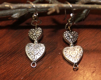Double heart dangle fish hook earring