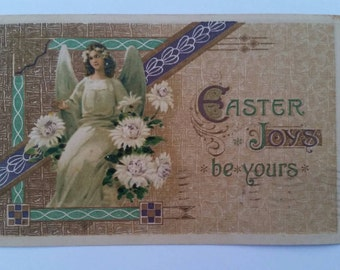 Antique Easter Joys Be Yours Angel Postcard Made in Germany