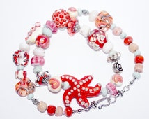 Starfish Necklace Glass Necklace, Beach Sea Necklace, Starfish Necklace, Coral Marine Necklace, OOAK, handmade  Necklace, sra