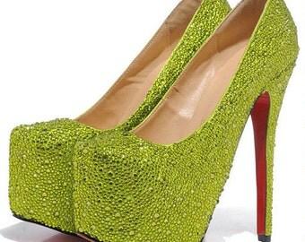 Green Crystal Shoe's, Green Wedding Shoes, Green Bridal Shoes, Green Heels, Green Pumps, Strass Heels, Strass Shoes, Strass Pumps