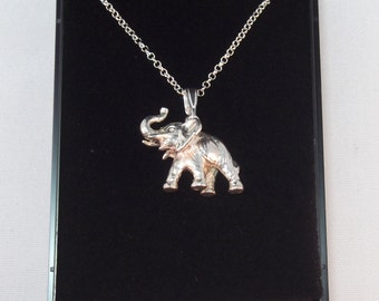 Vintage Silver Elephant Charm on Silver Chain