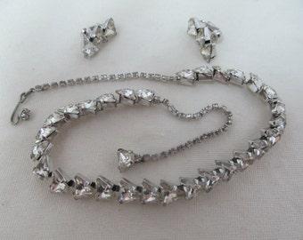 1960s Fancy Cut Rhinestone Necklace & Earrings Set Item W-#467