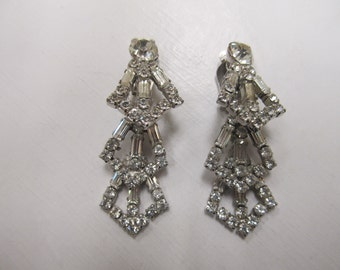 Vintage Elaborate 3D Prong Set Layered Dangle Earrings Item W-#694