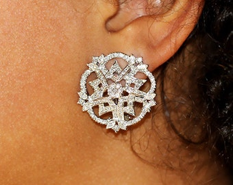 2.00ctw Marquise & Round Diamond Button Style Snowflake Earrings 18k White Gold