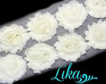 Ivory Shabby Rose Trim - Shabby Flower trim - Shabby Flower Rose Trim - Ivory - Shabby Chic - Wholesale - Rose Trim - 1 or 1/2 YD