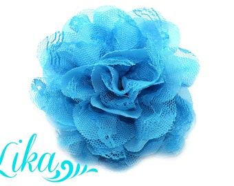 Lace Flowers - Turquoise - 3.75 inch - Turquoise - Shredded lace flower - Fabric Flowers - Wholesale - Chiffon Flower Flower - DIY